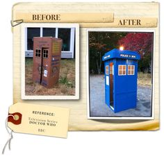 How to make Doctor Who's TARDIS out of a cardboard box.  Kids love it!