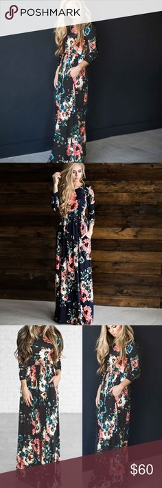 🆕🌹Day at the Gardens Navy Maxi Item#AL1775510 Also available in white in my closet.  Small bust 86cm length 142cm medium bust90cm  length 143cm. Large bust94cm length 144cm XL 98cm length145cm. Xxl is 102cm length 46cm Dresses Maxi