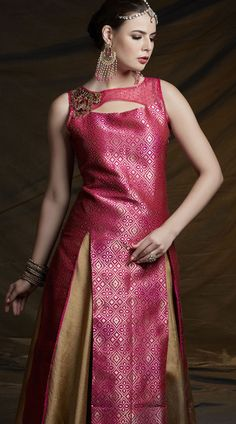 67a6e484a115 Golden Skirt Banarasi Brocade Long Kameez 2WV600805