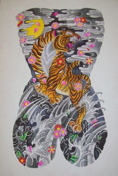 Japanese tattoo design of tiger back piece with finger waves clouds and cherry…
