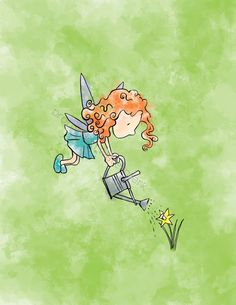 Fairy+watering+flowers. Looks like my curly haired little girls.