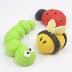 Caterpillar, lady bird and bee figures