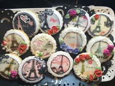 Cookies created using edible images and Sugarveil icing lace. #decorated #sugar #cookies #sugar veil #lace