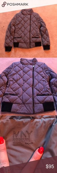 """NWOT Marc New York quilted down jacket Brand new. Never worn! Quilted down jacket by Marc New York. Super cute and very warm!!! Off center zip, with 4 pockets (2 zip). Darker gray color. Sleeves zip off to turn jacket into a vest. I LOVE this jacket, just doesn't fit. 24"""" long. Shoulder to end of sleeve is 25.5 inches long. Size small. Fits true to size. Marc By Marc Jacobs Jackets & Coats Puffers"""