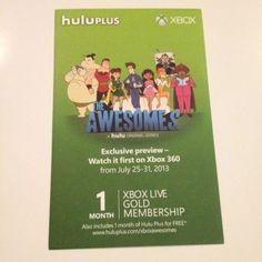 X-box Live Gold 1 Month Membership + 1 Free month of HULU Plus(San Diego Comic Con Promo)