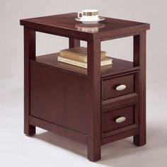 Chairside End Table Sofa Side Living Room Furniture W/ 2 Drawers And Open Shelf #Crown