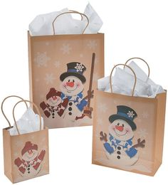 12 Paper Snowman Kraft Gift Bags - Assorted Sizes - Christmas Gift Bags >>> Continue to the product at the image link.