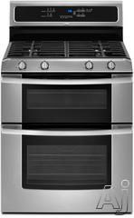 """$1099 double oven - Whirlpool GGG388LXS 30"""" Freestanding Gas Range with 4 Sealed Burners, 3.9 cu. ft. Lower Oven, 2.1 cu. ft. Upper Oven, 6th Sense Technology and Energy Save Mode: Stainless Steel"""