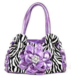 Purple Zebra Raised Flower Handbag #accessories #fashion #popular #womens #style #trendy #purse #bling #3d #boutique #print #onlinestore #moda