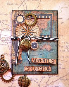 ATC by Belinda Spencer using Darkroom Door Steampunk Rubber Stamps, World Map Background Stamp and Photography Rubber Stamps.