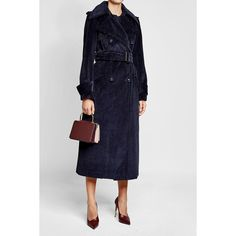 Corduroy Trench Coat Nina Ricci found on Polyvore featuring polyvore, women's fashion, clothing, outerwear, coats, corduroy coat, nina ricci coat, belted trench coat, button up coat and texture coat