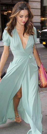 Miranda Kerr in a gorgeous flowing soft mint dress
