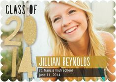 Shine bright with this 'Perfect Glitz' Graduation Announcement in Gold and Gilded Brown. #graduation