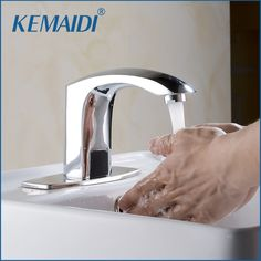 KEMAIDI Design Hot And Cold Automatic Hands Touch Free Sensor Faucet Bathroom Sink Tap Bathroom faucet Brass Material #Affiliate