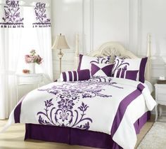 Chezmoi Collection 7-Piece White with Purple Floral Flocking Comforter 90-Inch by 92-Inch Set, Bed in a bag for Queen Size Bedding Machine W...