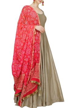 Buy grey anarkali with pink bandhani dupatta by Matsya. Anarkali Dress, Pakistani Dresses, Indian Dresses, Indian Outfits, Lehenga, Long Anarkali, Sarees, Ethnic Dress, Indian Ethnic Wear
