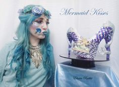 Hand Painted Heels, Mermaid Heels, Mermaid Room, Theme Color, Color Shapes, Blue Glitter, Pearl Color, White Shoes, Cotton Candy