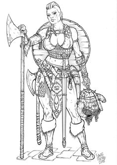 Rhaenn One Horn (lineart) by on DeviantArt Arte Viking, Viking Art, Viking Woman, Viking Life, Viking Warrior, Fantasy Character Design, Character Design Inspiration, Character Art, Viking Character