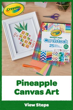 Pining for pineapple canvas art? Create DIY wall art & let this unique pineapple portrait stand tall in your home. Frame Crafts, Canvas Crafts, Crafts For Kids, Arts And Crafts, Diy Wall Art, Canvas Wall Art, Projects For Kids, Art Projects, Hidden Images