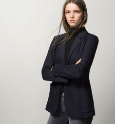 Massimo Dutti - Navy knit blazer - Knit jacket in a wool blend. Tailored cut…