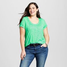 Women's Plus Size Scoop Neck Tee Island Green 2X - Ava & Viv