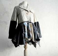 Women's Shabby Tattered Jacket Bohemian Coat Beige Black Blue Plaid Wearable Art Coat M