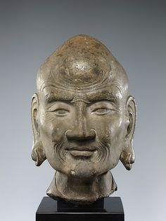 Head of LuohanPeriod: Ming dynasty (1368–1644) (?) Culture: China Medium: Limestone Dimensions: H. 15 1/4 in. (38.7 cm); W. 9 in. (22.9 cm); D. 9 1/4 in. (23.5 cm) Classification: Sculpture Credit Line: Rogers Fund, 1960 Accession Number: 60.74 Met