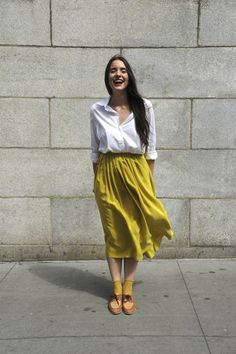 no. 6 pleated silk skirt in acid
