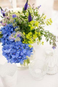 A classic country style coastal wedding in Bosham, West Sussex, captured by Anneli Marinovich Photography Blue Wedding Flowers, Blue Flowers, Wedding Bouquets, Flowers In Jars, Blue Hydrangea, Country Style, Floral Arrangements, Wedding Inspiration, Wedding Ideas