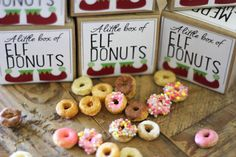 DIY elf donuts - cheerios with icing and sprinkles to make small christmas gifts for whole class