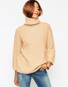 ASOS Sweater With Funnel Neck And Wide Sleeve