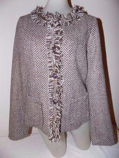 6b1d9151e85a62 Cynthia Rowley Womens Size M Blazer Brown Tan Chevron Tweed Jacket Fringe  Trim  CynthiaRowley