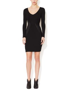 Jersey Cut Out Sheath Dress with Leather Inserts from  on Gilt $165