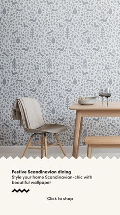 Forget about the old-fashioned green and red colour palette this festive season and instead opt for simple, stylish decor inspired by the Scandinavian interior design ethos. We have created a collecti Scandi Wallpaper, Scandinavian Wallpaper, Dining Room Wallpaper, Scandinavian Folk Art, Scandinavian Interior Design, Of Wallpaper, Scandi Home, Scandi Style, Red Colour Palette