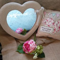 Beautiful Jennifer sweetheart material in dotty canvas or lace material combined with our delightful embroidered patchwork cushion that says Home is Shabby Chic Gifts, Patchwork Cushion, Christmas Gift Sets, Home Decor Items, Wooden Signs, Cushions, Fancy, Canvas, Vintage