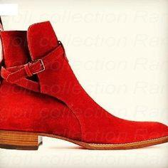 Handmade mens cherry red suede jodhpurs boot, men suede leather ...
