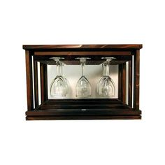 Craft the perfect wine cellar or storage space with the WCI Mini Stack Series Glass Rack - Premium Redwood Dark Walnut Stain . Brown Wood, Wine Storage, Wine Glass, Walnut Stain, Table Top, Dark Walnut Stain, Glass, Glass Rack, Wine Cellar Innovations