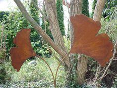 rost bläatter | ... zwei Ginkgo Blätter drehbar aus Metall, Rost, Edelrost, Ginko