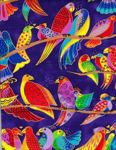 Laurel Burch - Jungle Songs Birds - Purple 1/4 yd RARE OOP FQ. 9.99, via Etsy.