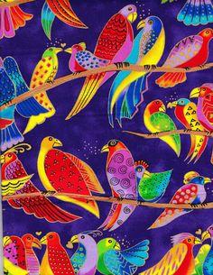 Laurel Burch - Jungle Songs Birds - Purple 1/4 yd RARE OOP FQ. 9.99, via Etsy.
