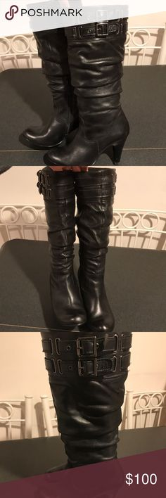 """Aldo leather boots Wembley Black boots. Missing original inside sole but can be replaced with one bought at drug store. Gently worn. 17"""" shaft height. 14"""" calf circumference. 3.5"""" heel. No box. Aldo Shoes Heeled Boots"""