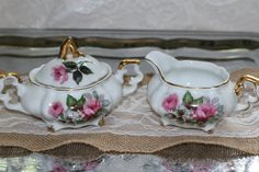 Vintage 1940s Victoria Ceramics Sugar Bowl Creamer Set Shabby Cottage Rose Gold Gilt Tea Coffee Serving Dining Collectible Japan by TresorsEnchantes on Etsy