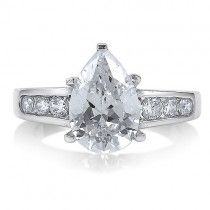 Sterling Silver Pear Cut Cubic Zirconia Solitaire Ring 3.2 ct.tw