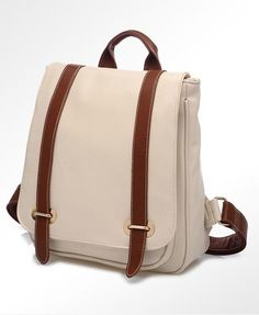 Beige Box Backpack with Buckle Belt Detail and Oversized Flap Front