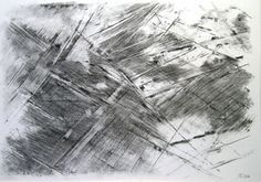 Rainer Tappeser, uit de Werkgroep ERDHAUT, houtskool en krijt op Karton  70 x 100 cm, 2004