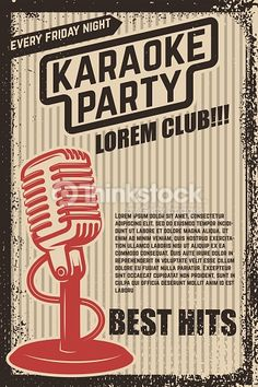 Vintage microphone on grunge background. Design element for poster, flyer. Karaoke Party, Micro Vintage, Music Background, Grunge, Cds, Vintage Microphone, Party Poster, My Images, Social Media