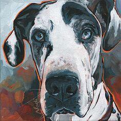 Great Dane Painting - Diezel by Nadi Spencer