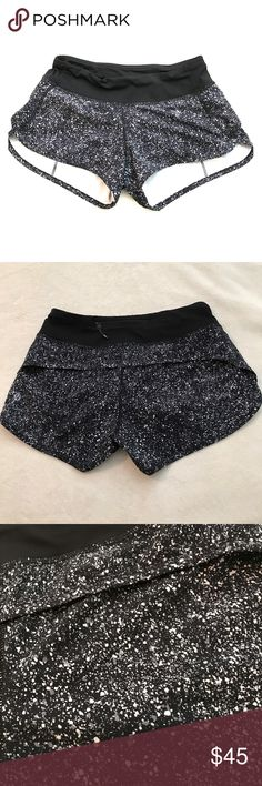 Lululemon speed shorts Black and white speckled pattern. 4 way stretch. Excellent condition. Barely worn.  Speed shorts have been discontinued. These are great for running, lifting, crossfit, etc. lululemon athletica Shorts