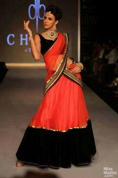 Net Orange Embroidered Bollywood Style Saree
