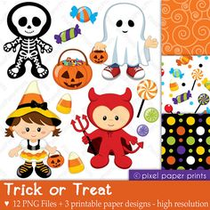 Trick or Treat - Digital paper and clip art set - Halloween
